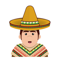 half body man mexican with hat vector image