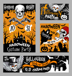 Halloween horror skull poster night party design vector