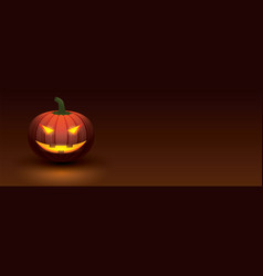halloween pumpkin with light glowing in smiling vector image