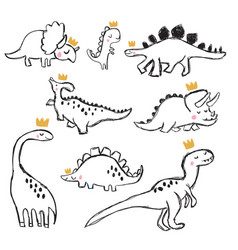 Hand drawing dinosaur vector