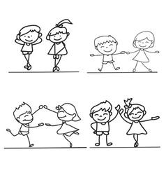 Hand drawings cartoon happy kid happiness concept vector