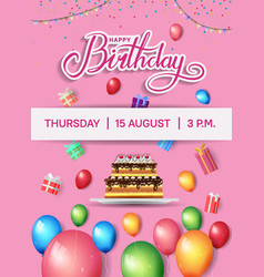 Happy birthday design with balloon cake and gift vector