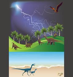 Jurassic dinosaur landscape vector
