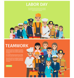 Labor day and teamwork flat web banners vector