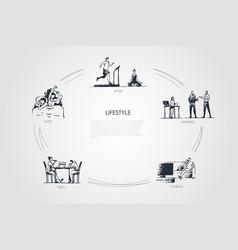 Lifestyle - sleep sport business cinema vector