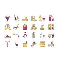 linear color icon set 4 - wine production vector image