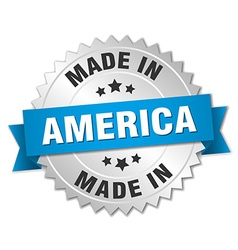 Made in america silver badge with blue ribbon vector