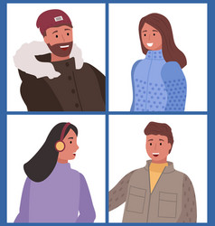 male and female in winter clothes closeup vector image
