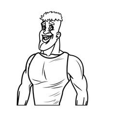 Man athletic bodybuilding sport line vector