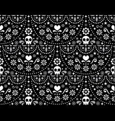 mexican folk art seamless skull pattern vector image