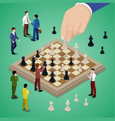 miniature business people playing chess vector image