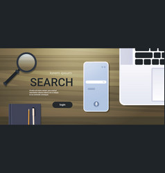 Mobile app browsing online search concept top vector