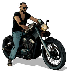 Motorcyclist on motorcycle vector