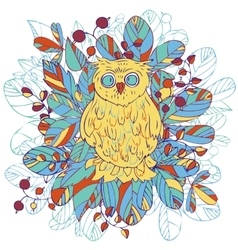 Owl and leaves vector