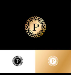 p gold letter monogram gold circle lace ornament vector image