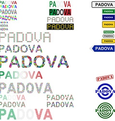 Padova text design set vector