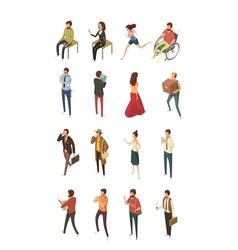People Isometric Icons Set vector image