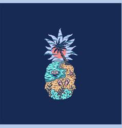 pineapple beach vector image