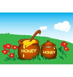 Pots with honey vector