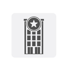 Quality control at home icon with skyscraper sign vector