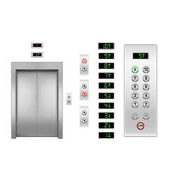 realistic elevator door and buttons panel vector image