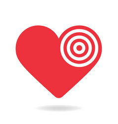 red and white heart target stock icon love aim vector image