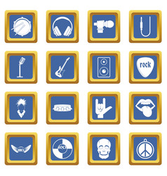 Rock music icons set blue vector