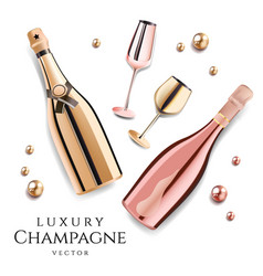 rose gold champagne bottles with wine glasses vector image