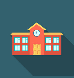 school icon flate single building icon from the vector image