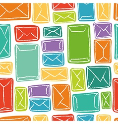 Seamless pattern - many colorful envelopes vector