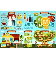 Set family infographics - wedding types house vector