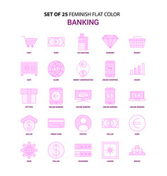 set of 25 feminish banking flat color pink icon vector image