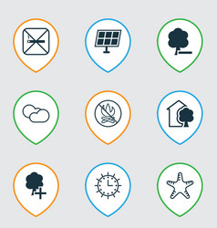 Set of 9 eco-friendly icons includes house cloud vector