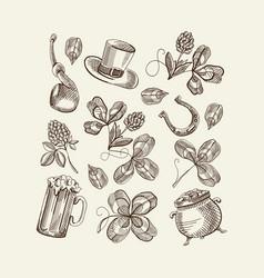 sketch saint patricks day elements set vector image
