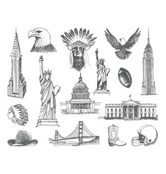 sketches symbols usa vector image