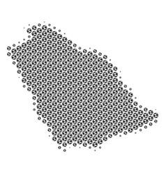 Soccer ball saudi arabia map mosaic vector