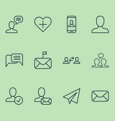 Social icons set with member chatting dialogue vector