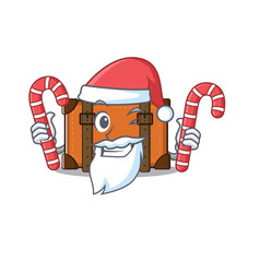 Suitcase with in cartoon santa bring candy vector