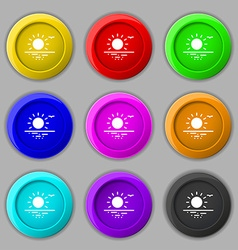 Sunset icon sign symbol on nine round colourful vector