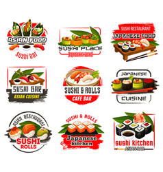 Sushi bar or cafe and restaurant of japan icons vector