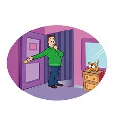 suspicious bedroom vector image