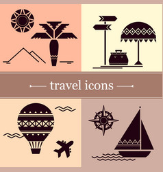 symbols of travel in a flat style vector image