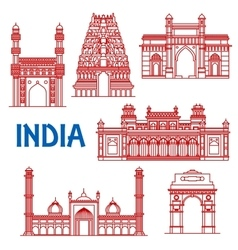 thin line architecture landmarks india icons vector image