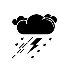thunderstorm black glyph icon vector image