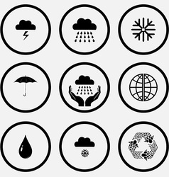 thunderstorm rain snowflake umbrella weather in vector image
