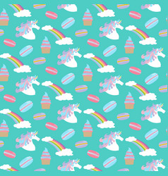 unicorn rainbow pattern vector image