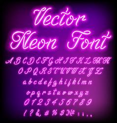 violet retro neon font luminous letter glow effect vector image