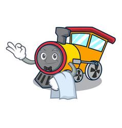 Waiter train mascot cartoon style vector