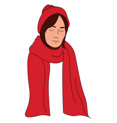 woman with red scarf on white background vector image