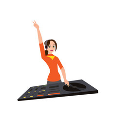 Young female dj in headphones with one hand up vector